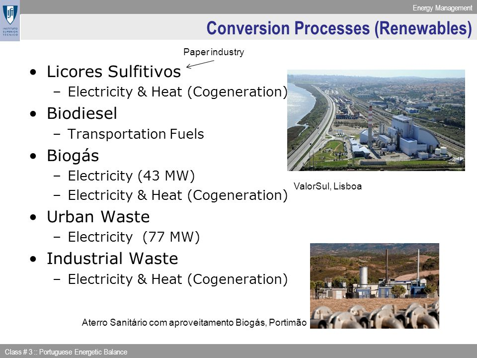Conversion Processes (Renewables)