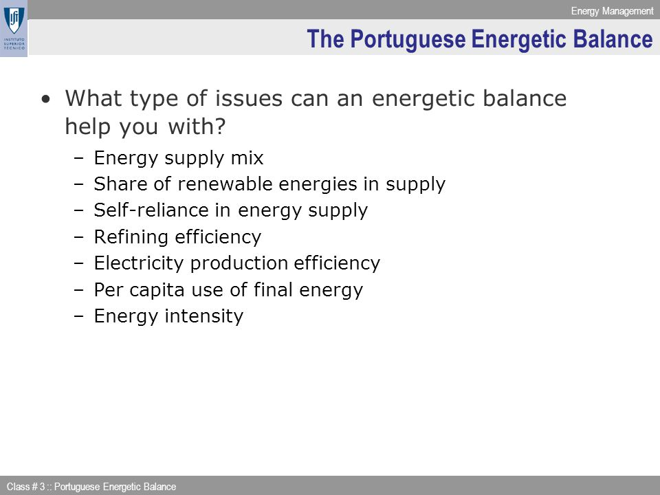 The Portuguese Energetic Balance