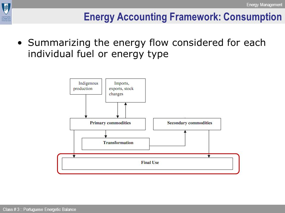Energy Accounting Framework: Consumption