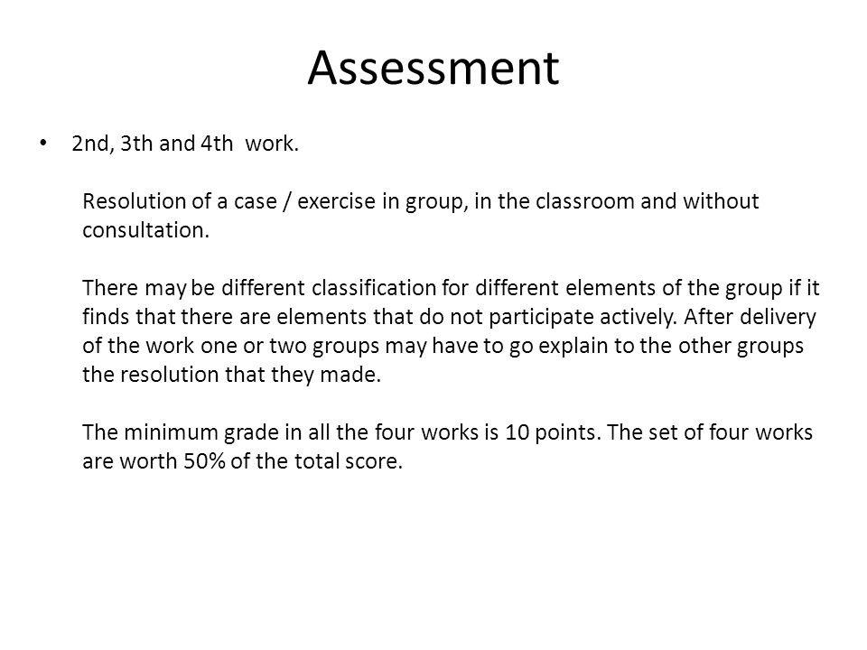 Assessment 2nd, 3th and 4th work.