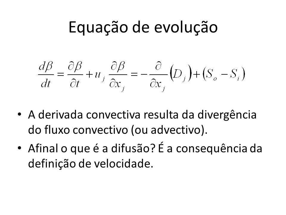 Equação de evolução A derivada convectiva resulta da divergência do fluxo convectivo (ou advectivo).