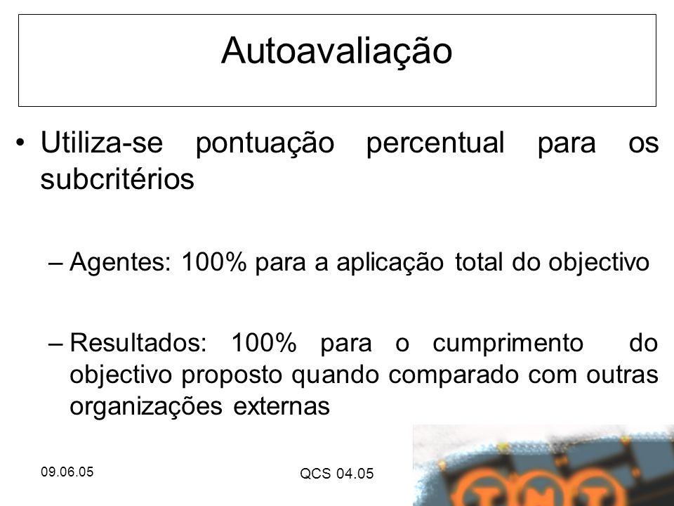 Autoavaliação Utiliza-se pontuação percentual para os subcritérios