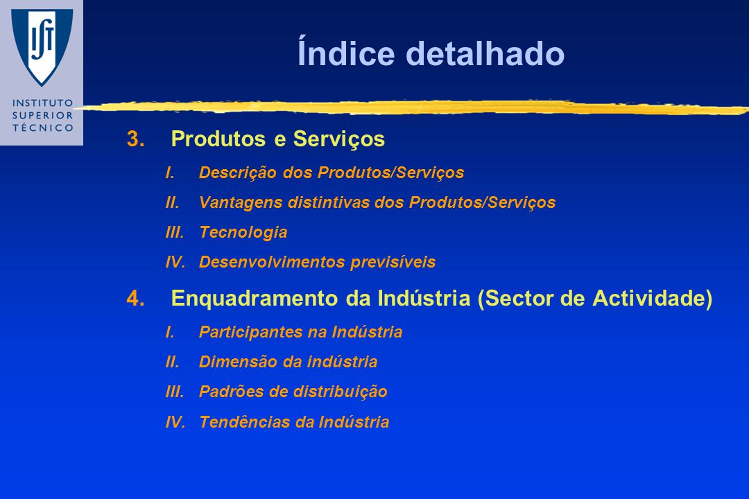Índice detalhado Produtos e Serviços
