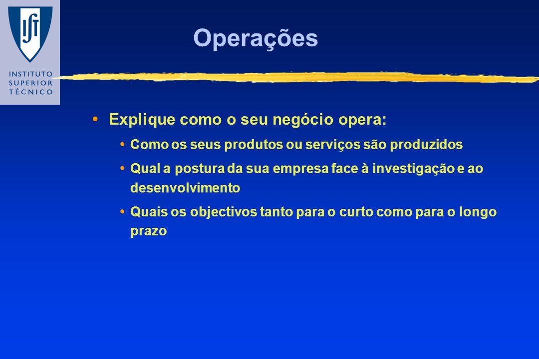 Operações Explique como o seu negócio opera: