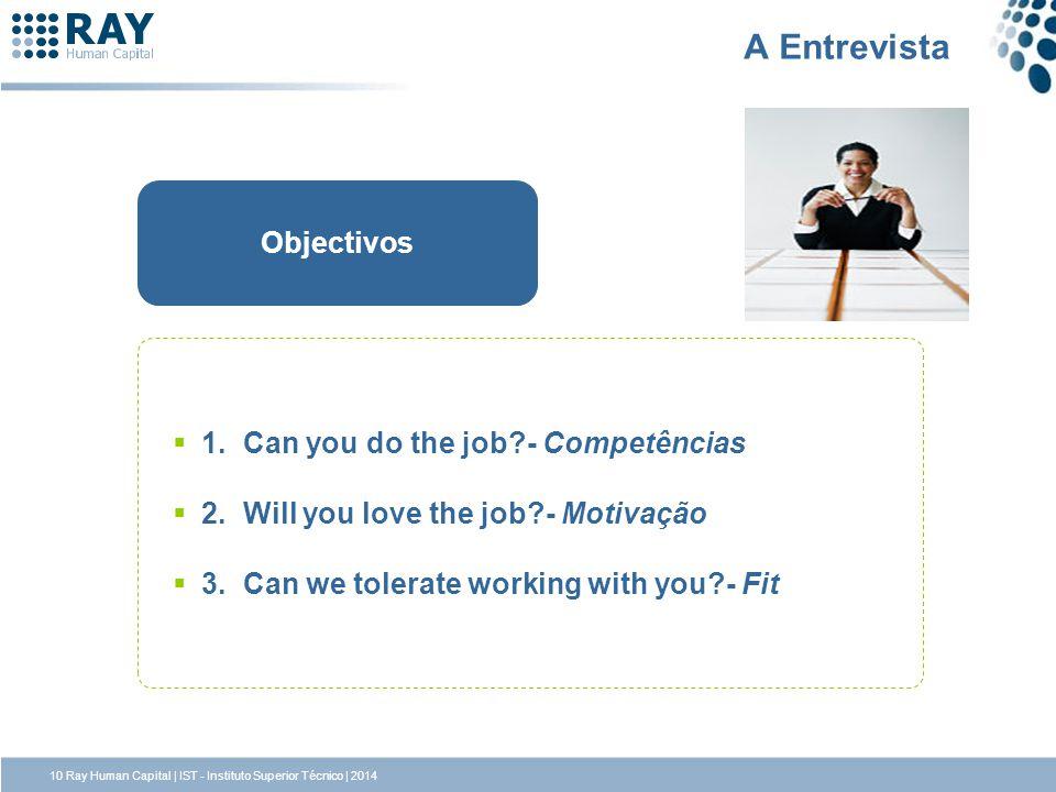 A Entrevista Objectivos 1. Can you do the job - Competências