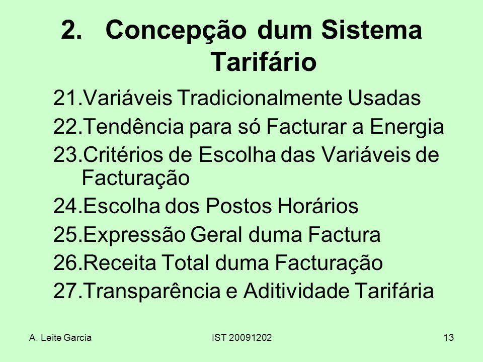 Concepção dum Sistema Tarifário