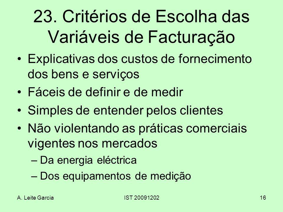 23. Critérios de Escolha das Variáveis de Facturação