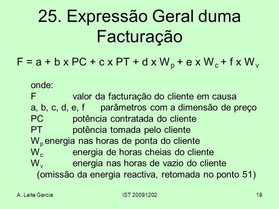 25. Expressão Geral duma Facturação