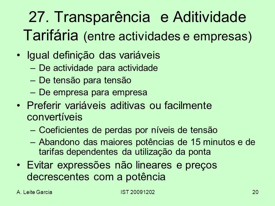 27. Transparência e Aditividade Tarifária (entre actividades e empresas)
