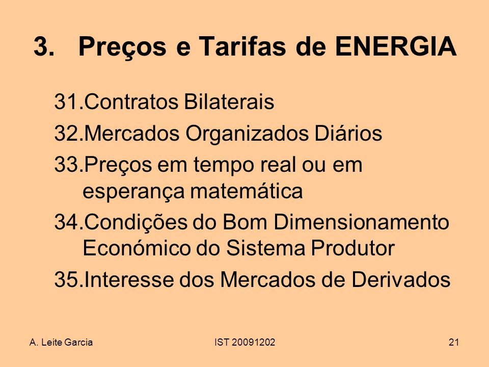 Preços e Tarifas de ENERGIA