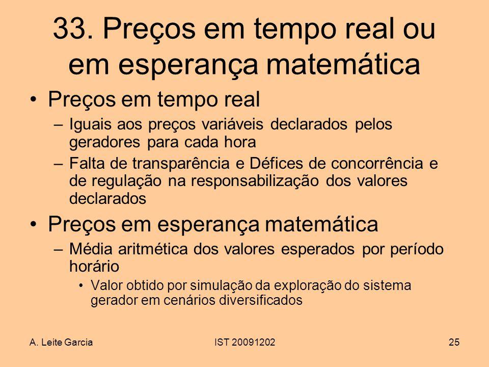 33. Preços em tempo real ou em esperança matemática