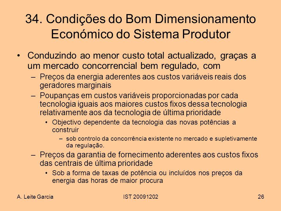 34. Condições do Bom Dimensionamento Económico do Sistema Produtor