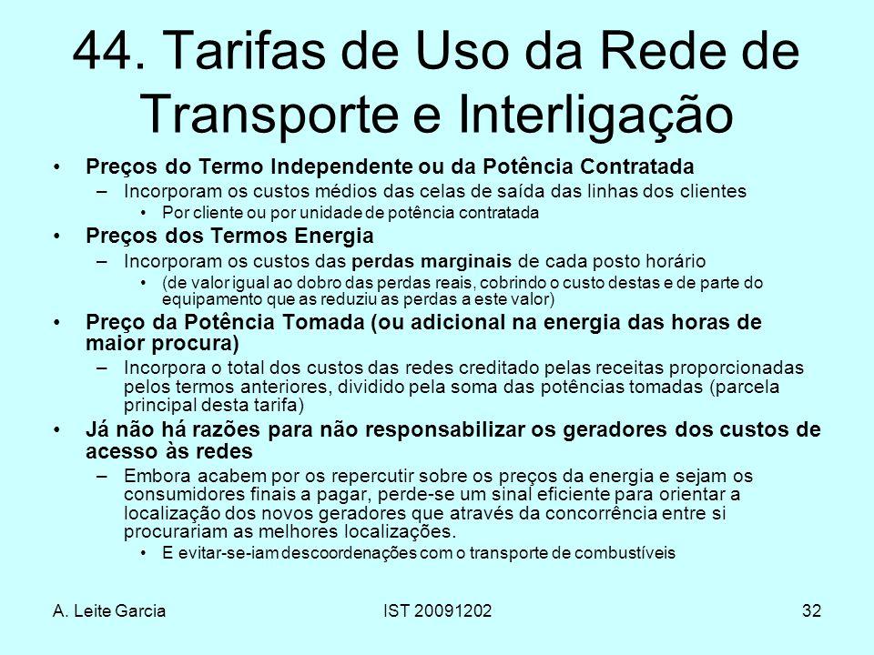 44. Tarifas de Uso da Rede de Transporte e Interligação