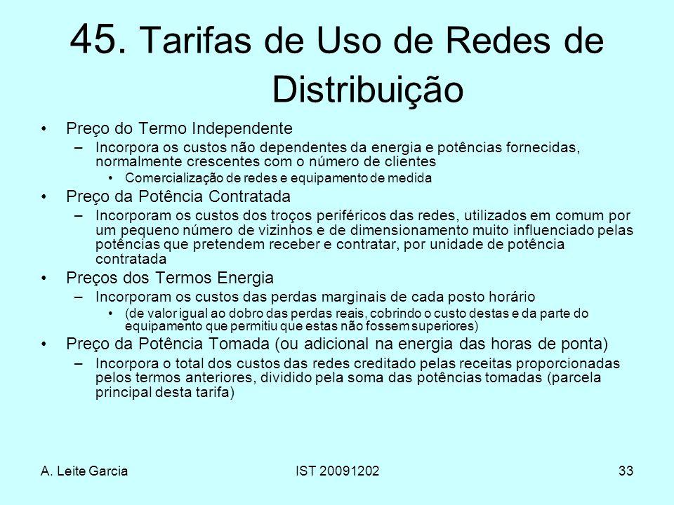 45. Tarifas de Uso de Redes de Distribuição