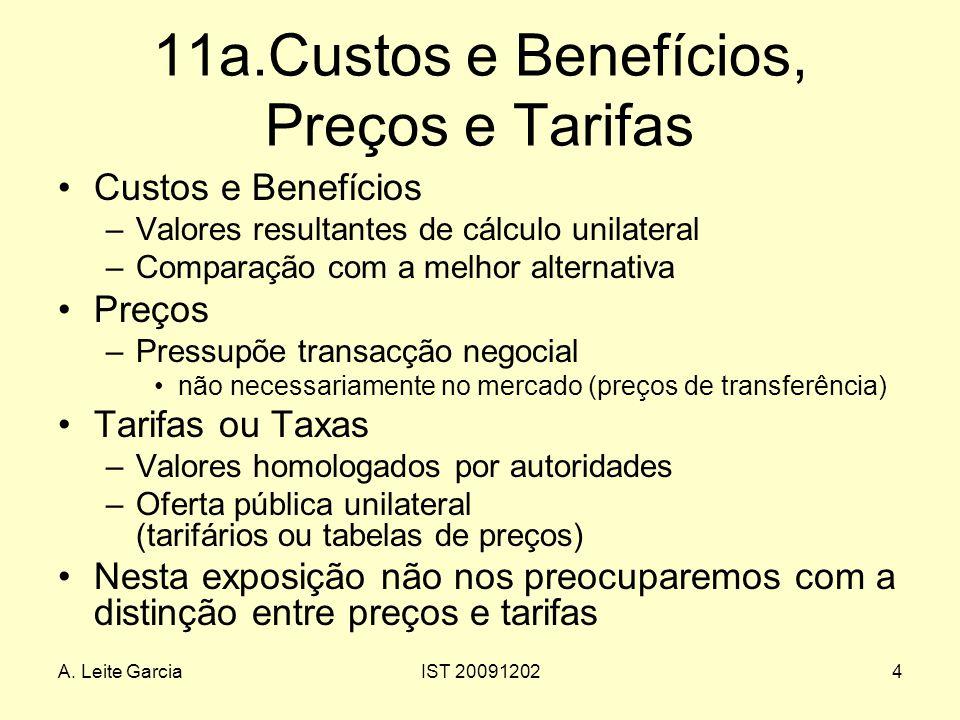 11a.Custos e Benefícios, Preços e Tarifas