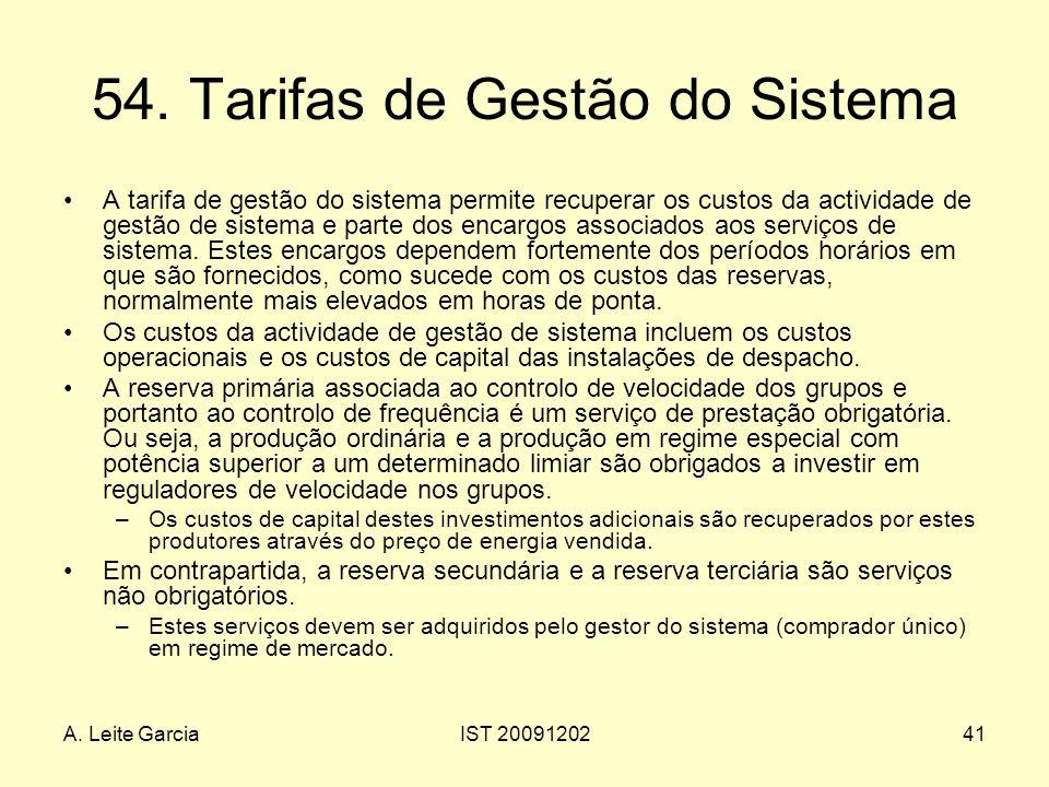54. Tarifas de Gestão do Sistema