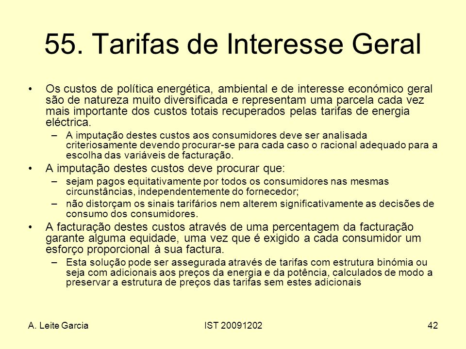 55. Tarifas de Interesse Geral