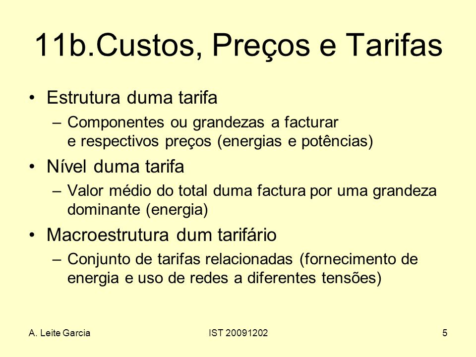 11b.Custos, Preços e Tarifas