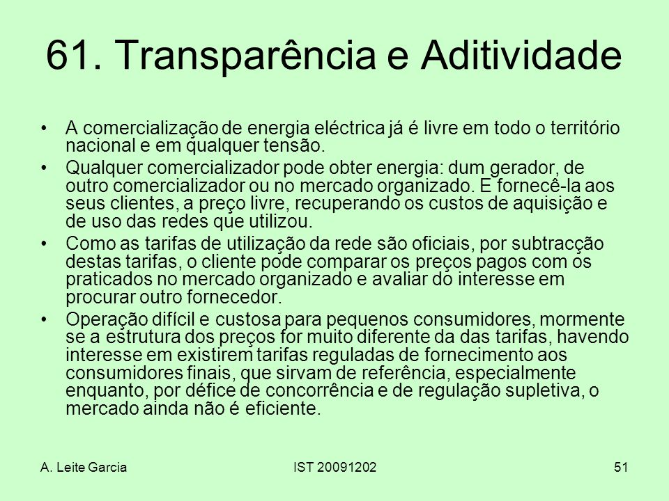 61. Transparência e Aditividade