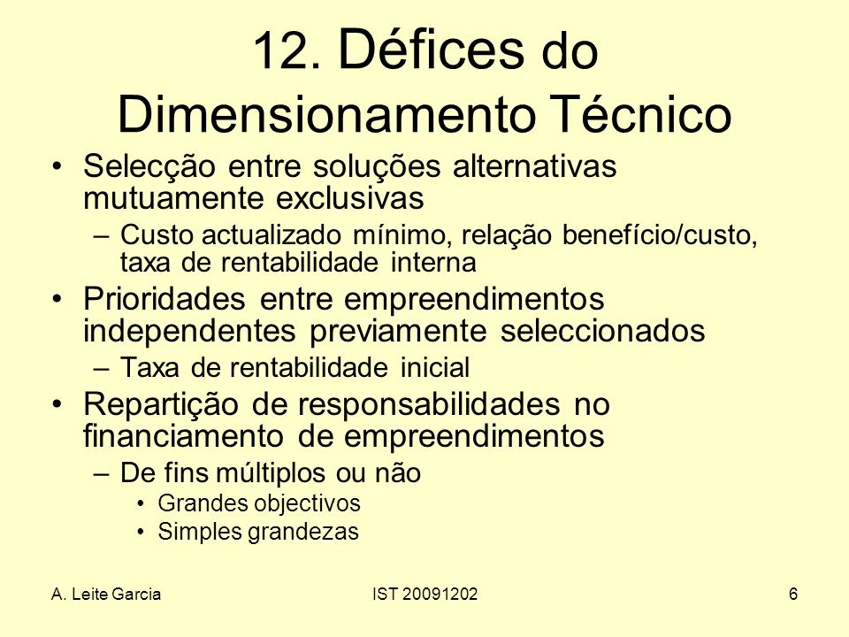 12. Défices do Dimensionamento Técnico
