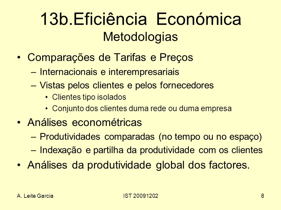 13b.Eficiência Económica Metodologias
