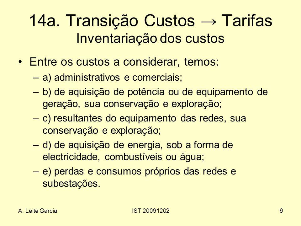 14a. Transição Custos → Tarifas Inventariação dos custos