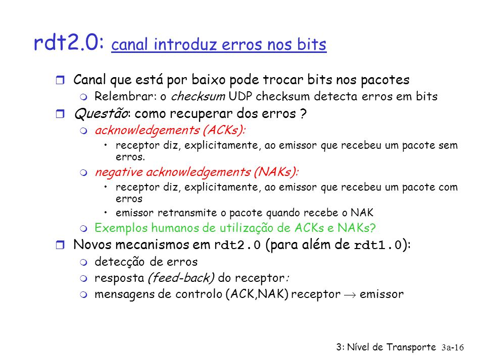 rdt2.0: canal introduz erros nos bits