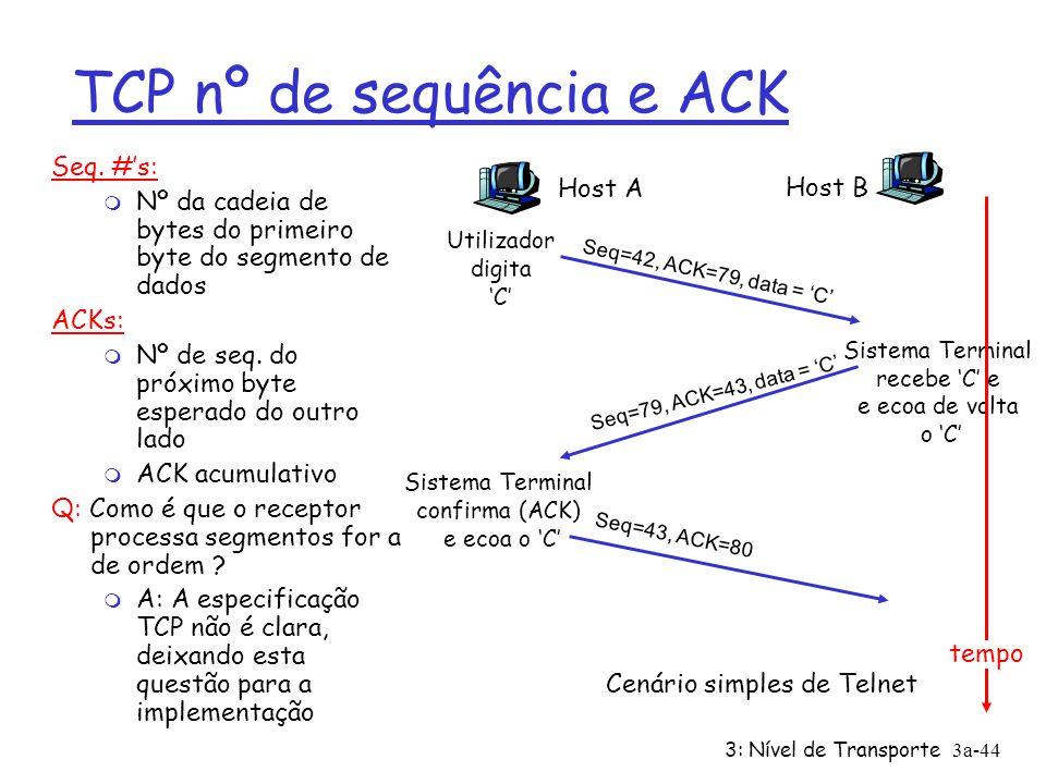 TCP nº de sequência e ACK