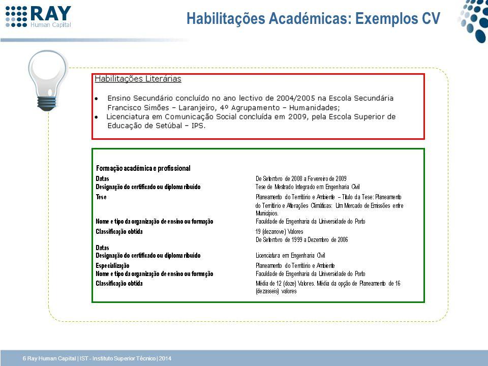 Habilitações Académicas: Exemplos CV