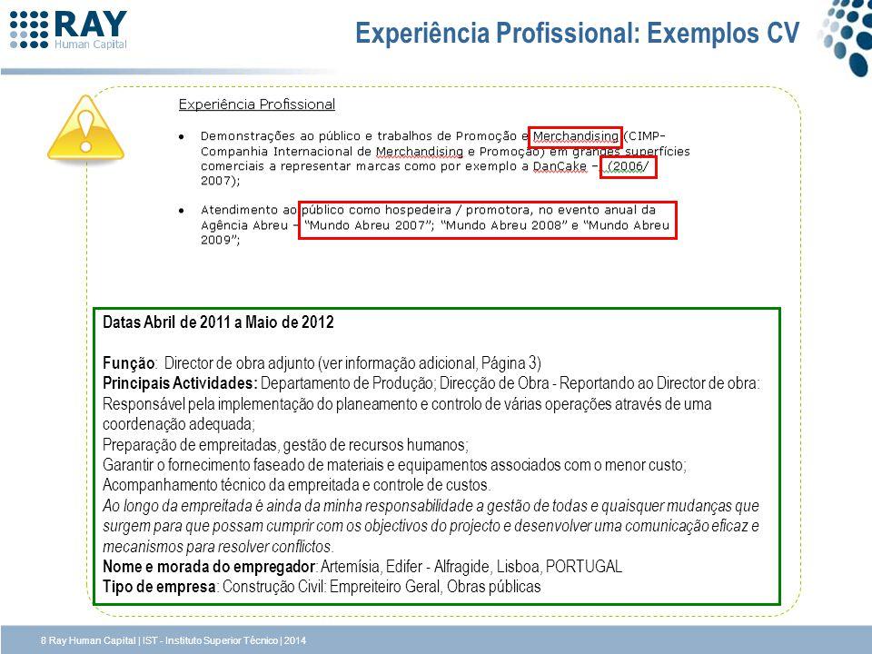 Experiência Profissional: Exemplos CV