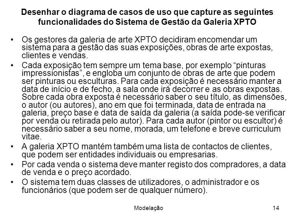 Desenhar o diagrama de casos de uso que capture as seguintes funcionalidades do Sistema de Gestão da Galeria XPTO