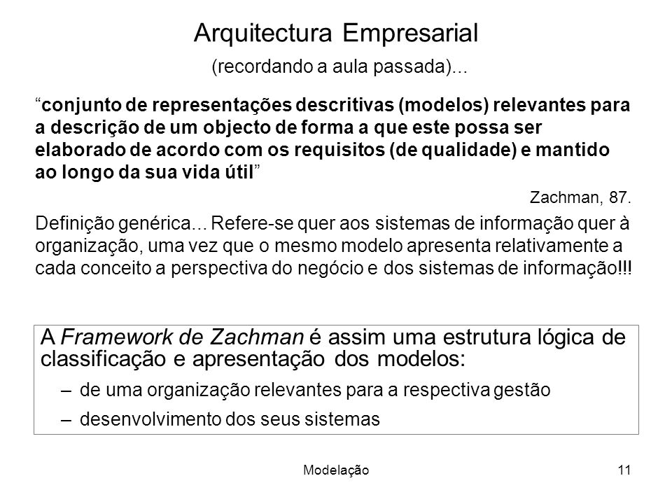 Arquitectura Empresarial (recordando a aula passada)...