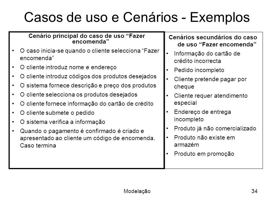 Casos de uso e Cenários - Exemplos