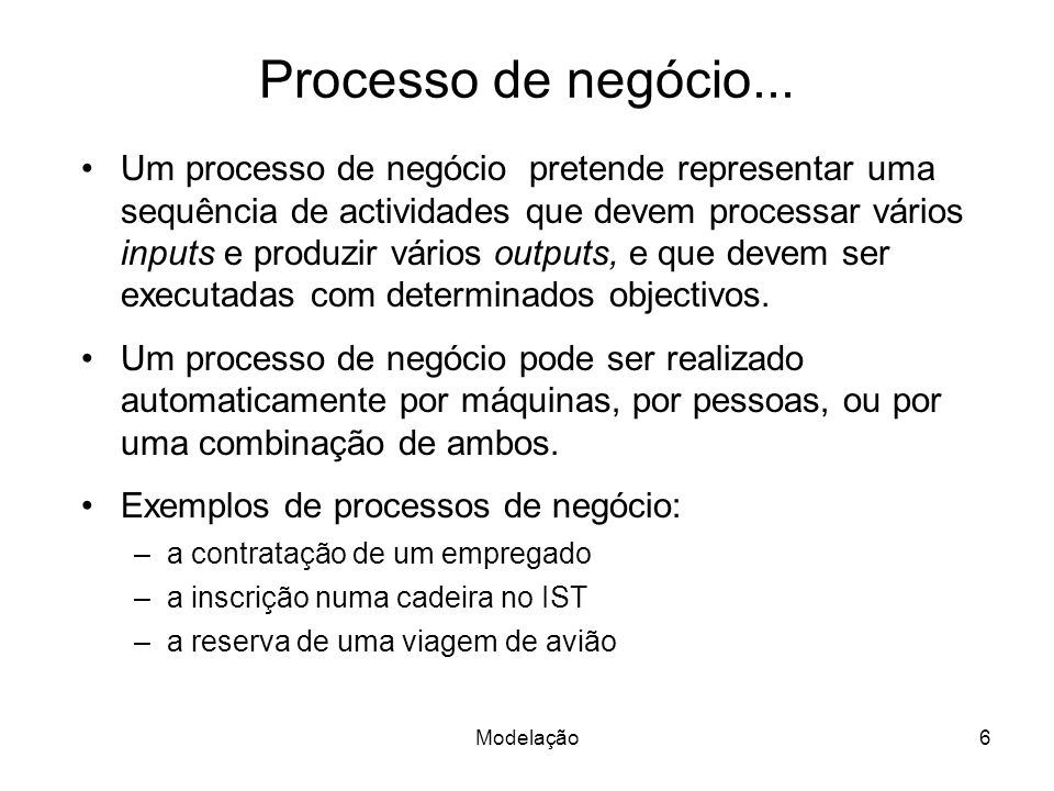 Processo de negócio...