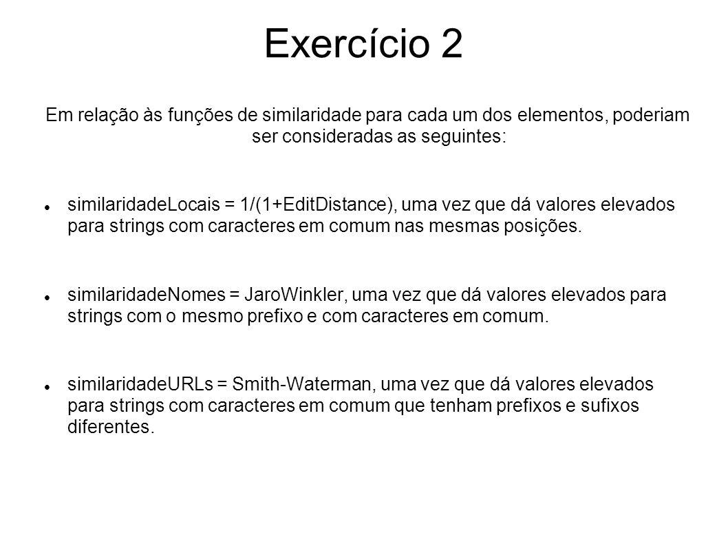Exercício 2 Em relação às funções de similaridade para cada um dos elementos, poderiam ser consideradas as seguintes: