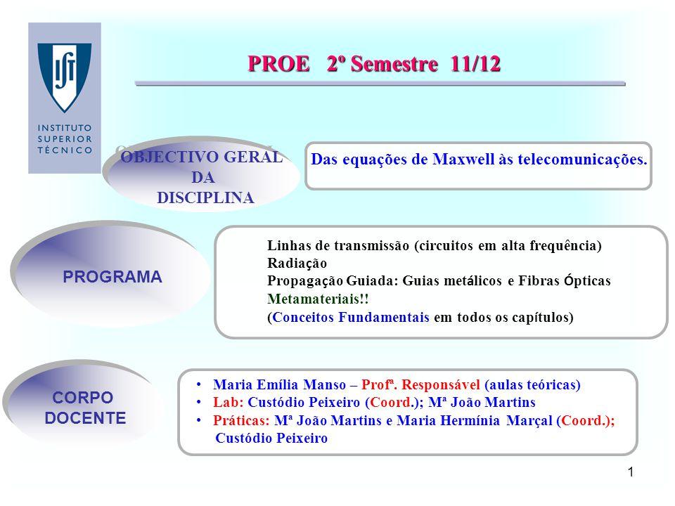PROE 2º Semestre 11/12 OBJECTIVO GERAL