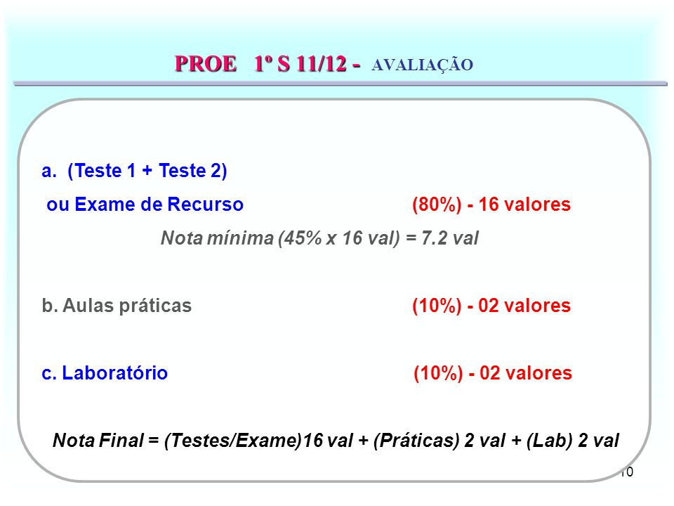 PROE 1º S 11/12 - AVALIAÇÃO a. (Teste 1 + Teste 2)