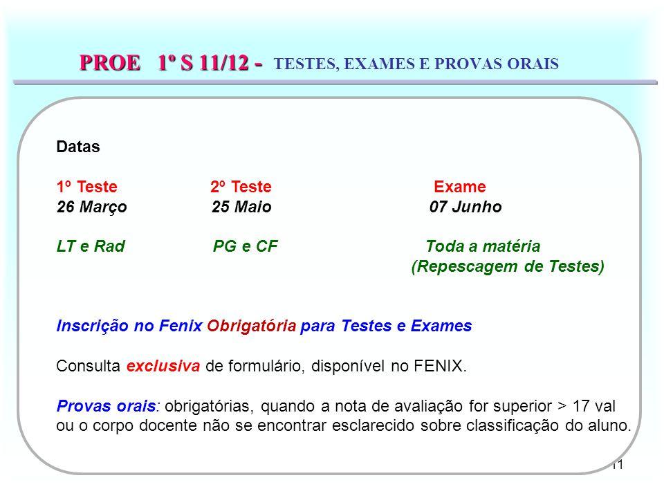 PROE 1º S 11/12 - TESTES, EXAMES E PROVAS ORAIS
