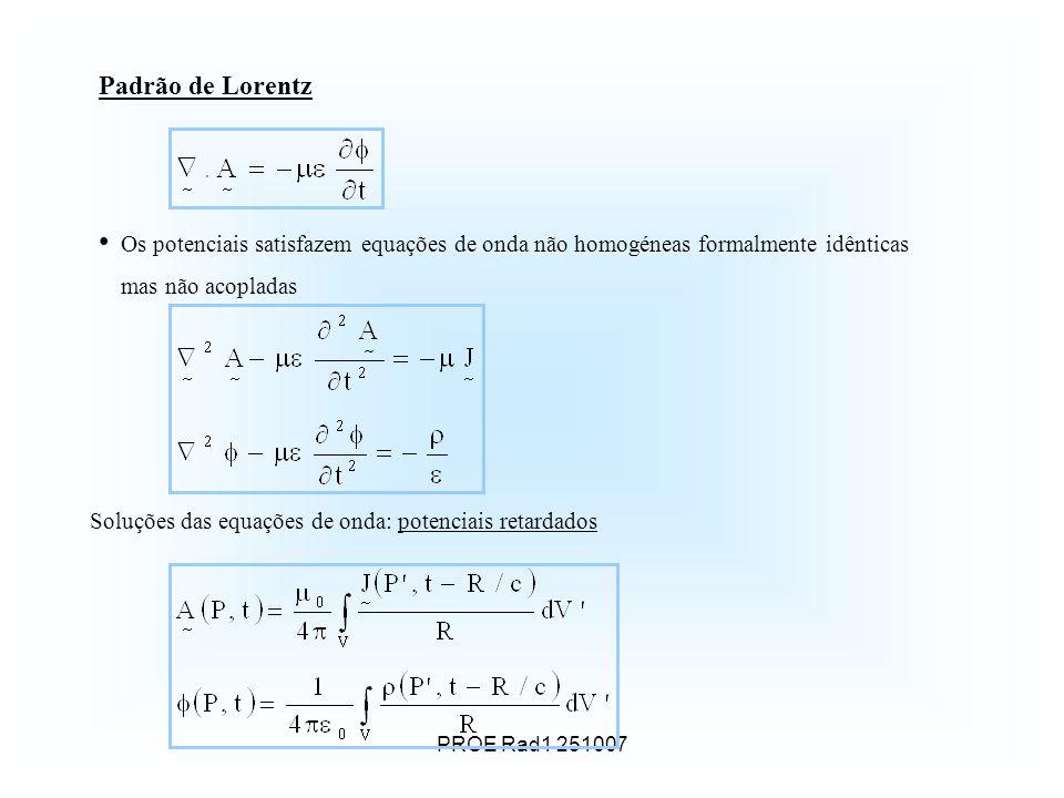 Padrão de Lorentz Os potenciais satisfazem equações de onda não homogéneas formalmente idênticas mas não acopladas.