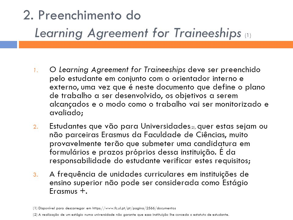 2. Preenchimento do Learning Agreement for Traineeships (1)