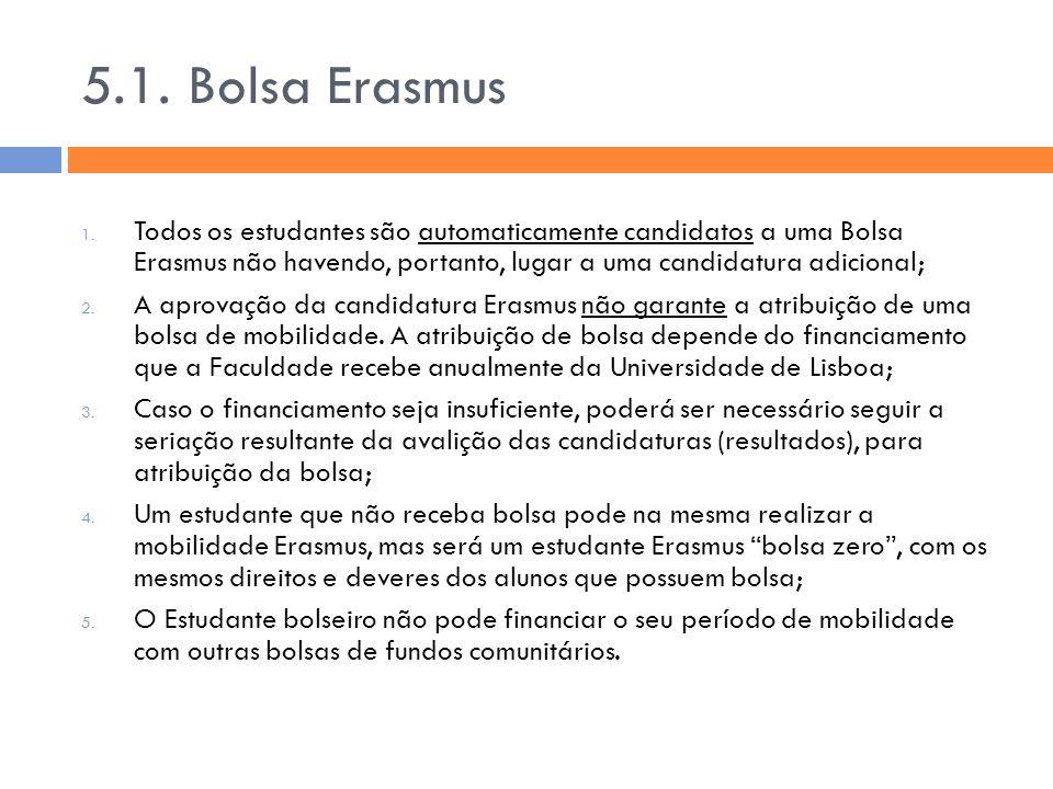 5.1. Bolsa Erasmus Todos os estudantes são automaticamente candidatos a uma Bolsa Erasmus não havendo, portanto, lugar a uma candidatura adicional;
