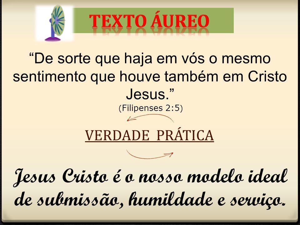 Jesus Cristo é o nosso modelo ideal de submissão, humildade e serviço.