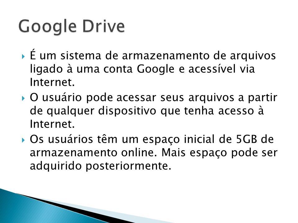 Google Drive É um sistema de armazenamento de arquivos ligado à uma conta Google e acessível via Internet.