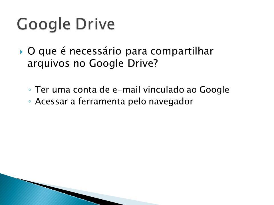 Google Drive O que é necessário para compartilhar arquivos no Google Drive Ter uma conta de e-mail vinculado ao Google.