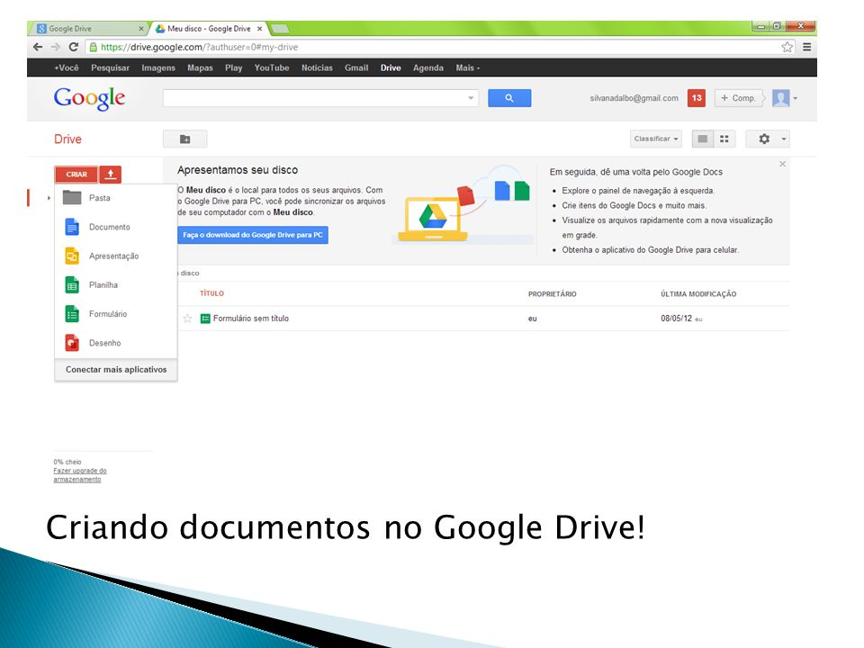 Criando documentos no Google Drive!