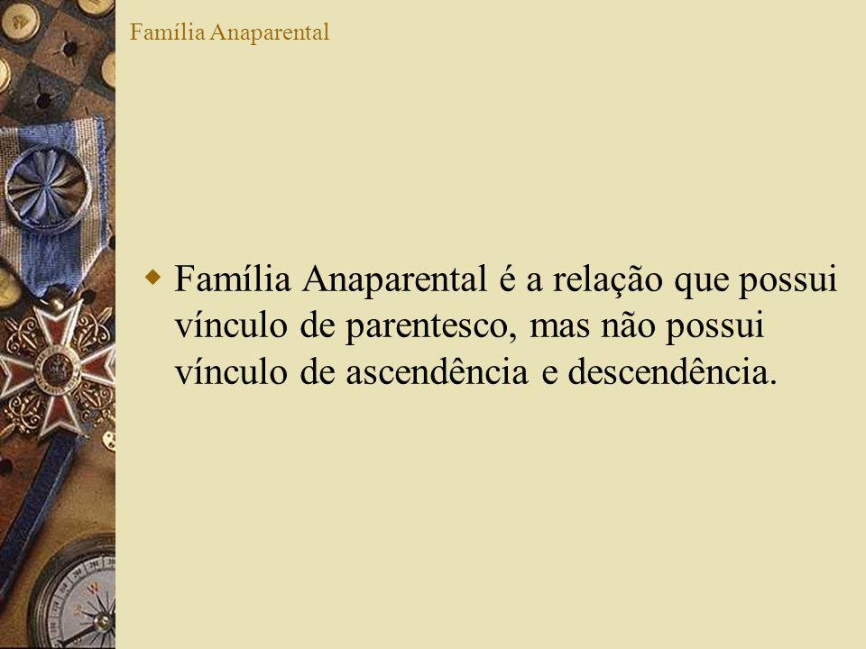 Família Anaparental Família Anaparental é a relação que possui vínculo de parentesco, mas não possui vínculo de ascendência e descendência.