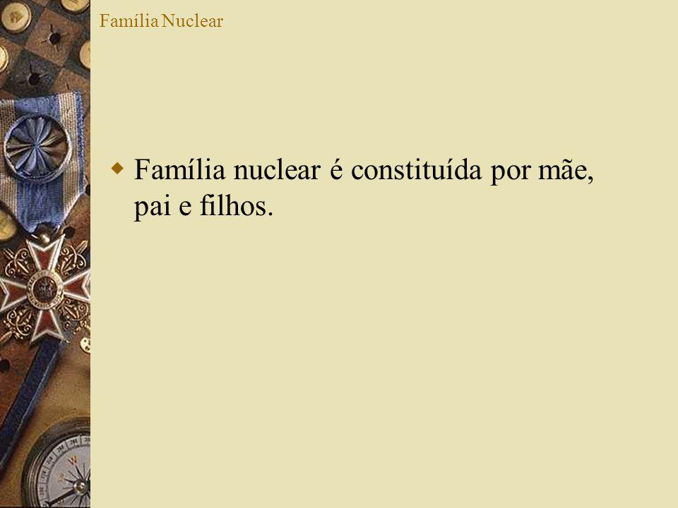 Família nuclear é constituída por mãe, pai e filhos.