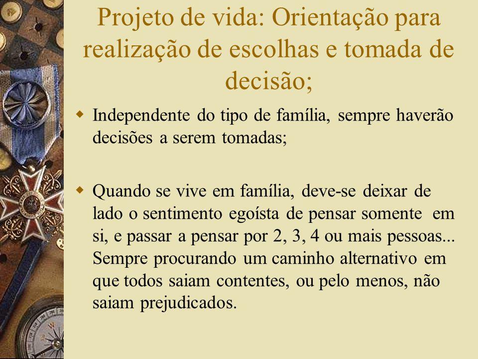 Projeto de vida: Orientação para realização de escolhas e tomada de decisão;