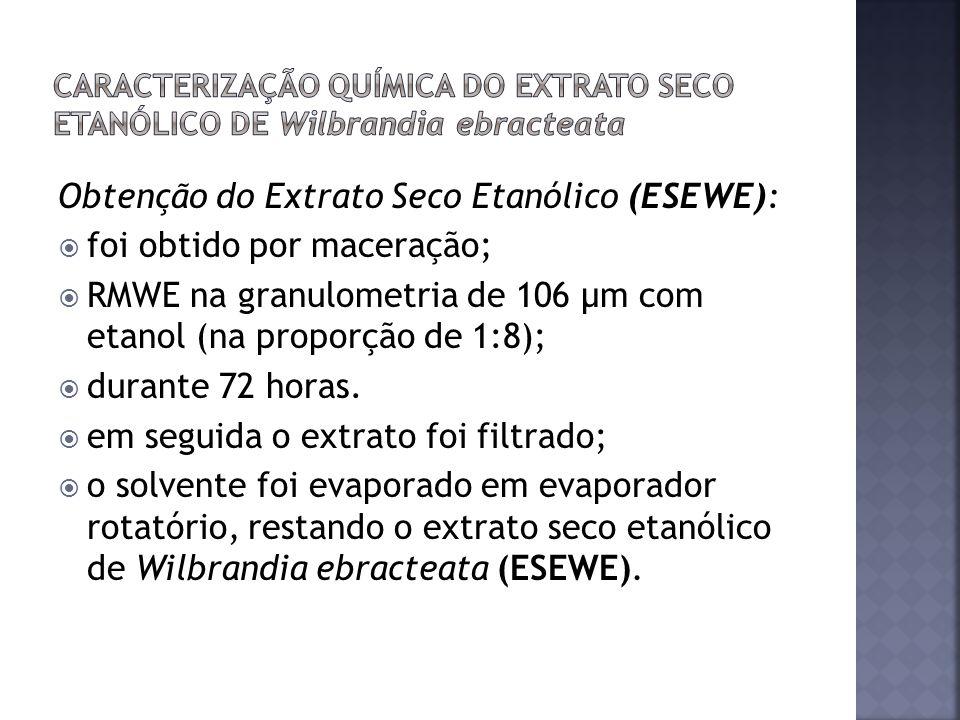 Obtenção do Extrato Seco Etanólico (ESEWE): foi obtido por maceração;