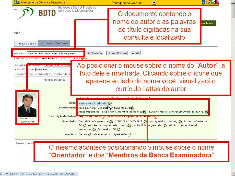 O documento contendo o nome do autor e as palavras do título digitadas na sua consulta é localizado
